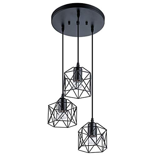 VILUXY Industrial 3-Light Pendant Lighting, with Black Metal...
