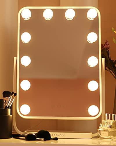 EASEHOLD Hollywood Schminkspiegel mit Beleuchtung, Touch-Steuerung, 3 Beleuchtungseinstellungen Licht, Theaterspiegel mit 12 dimmbaren hochwertigen LED-Birnen, 48 x 33 cm