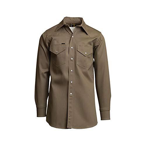 Lapco 850-XL-LONG Mid-Weight Welder's Shirts, 100% Cotton, 8.5 oz, X-Large Long, Khaki