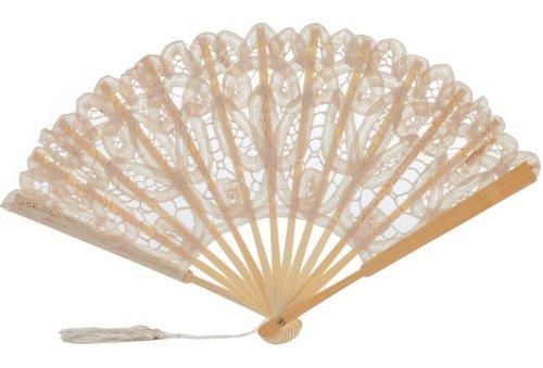 The 1 For U Women's Cotton Lace Fan Ecru (Beige))