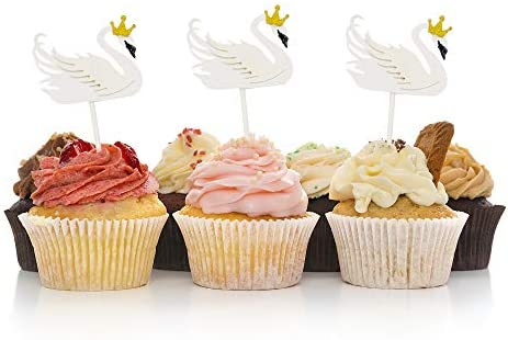 HOKPA Swan Cupcake Cake Toppers Elegant Swan Dessert Food Picks for Girls Birthday Wedding Bridal product image