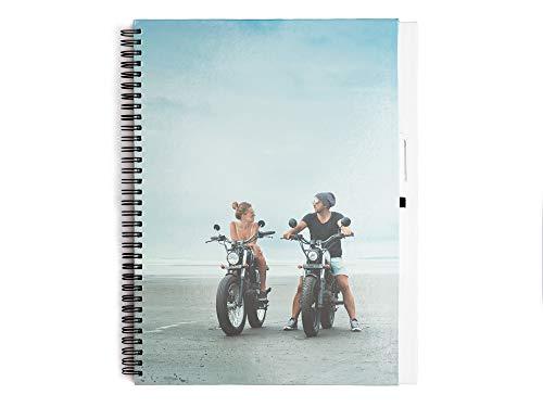 Regalo Original Cuaderno Grande de Tapa Dura Personalizado con Foto o Texto y con un bolígrafo Incluido 29,5 cm x 22 cm