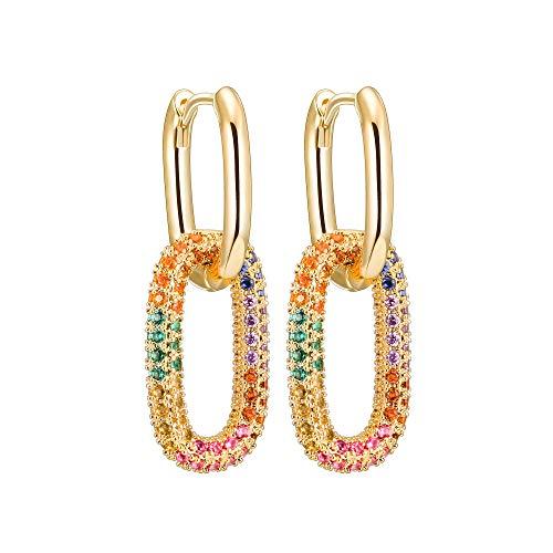Orecchini da donna orecchini a cerchio con fibbia ciondoli ad anello cristallo colorato antiallergico rame fascino ragazza o madre gioielli regalo oro/argento/oro rosa