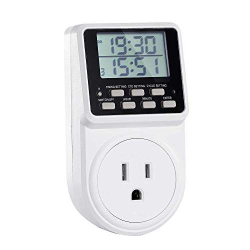 Digital Infinite Recurring Insert Timer Switch with Countdown and 24 Hour programmable Timer for Power sockets Lamps and Household appliances 120V 15A