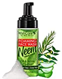 WishCare® Neem-AloeVera-TeaTree Face Wash with Neem Whole Leaves & Foaming Technology- For Oil