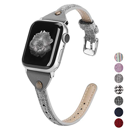 Wearlizer Compatible with Apple Watch Bands 38mm 40mm Woven Canvas Womens Slim Fabric Cloth Wristband Feminine Thick Thin Skinny Classic Durable Strap for iWatch Series 5 4 3 2 1-Gray