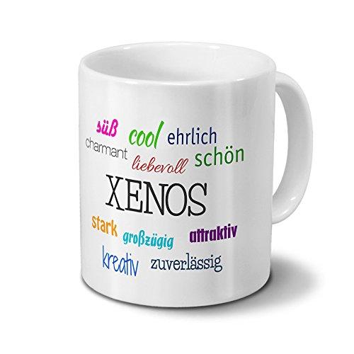 Tasse mit Namen Xenos - Motiv Positive Eigenschaften - Namenstasse, Kaffeebecher, Mug, Becher, Kaffeetasse - Farbe Weiß