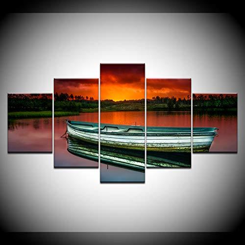 DAIZHJ Canvas Schilderij houten boot in rivier zonsondergang 5 Stukken Muurschildering Modulaire Wallpapers Poster Print woonkamer Home Decor