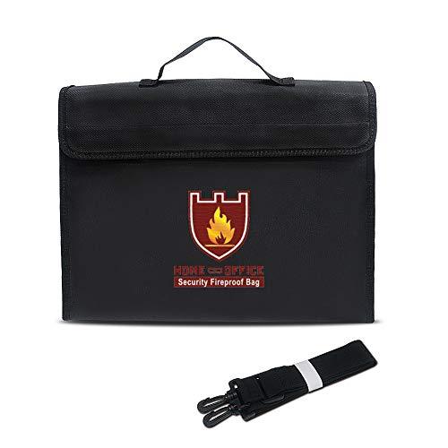 TsunNee Bolsa de documentos ignífuga con correa de mano, bolsa de documentos resistente al agua, bolsa de seguridad ignífuga, bolsa de seguridad ignífuga con correa de hombro, 38 x 28 x 7,5 cm