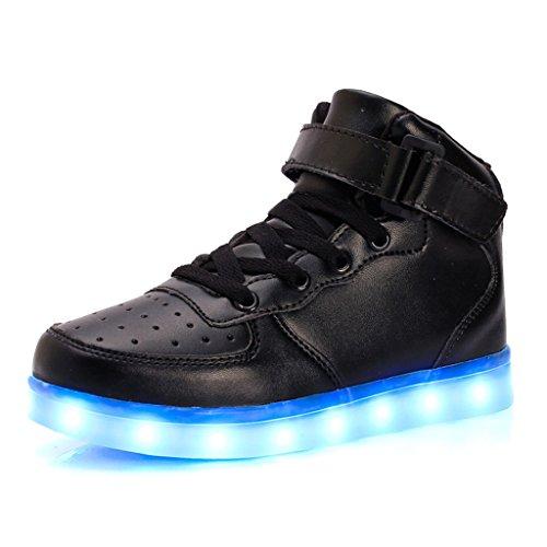 DoGeek LED Schuhe 7 Farbe USB Aufladen Leuchtend Sportschuhe Led Sneaker Turnschuhe für Herren Damen (Wählen Sie 1 größere Größe) (33, High-Top Black)