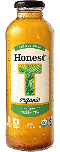 "Honest Organic, Unsweetened,""Just"" Green Tea, 16 fl oz (12 Glass Bottles)"