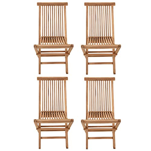 BENEFFITO SALENTO - Conjunto de 4 sillas de jardín Plegables en Teca Natural para Exterior