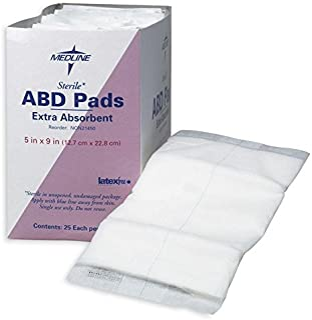 "Medline Sterile Abdominal Pads, Super Absorbent Pad, 5""X9"", 25 Count"