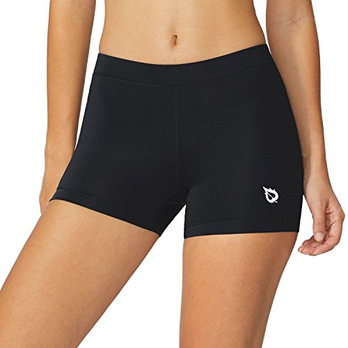 BALEAF Women's 3 Inches Active Fitness Compression Volleyball Shorts Workout Spandex Black Size S