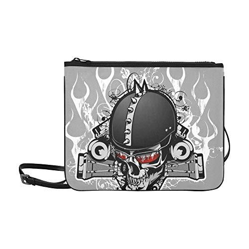 WYYWCY Karikatur-Motorrad-Helm-Muster-Gewohnheits-hochwertiges Nylon dünne Handtasche Kreuzkörperbeutel-Umhängetasche