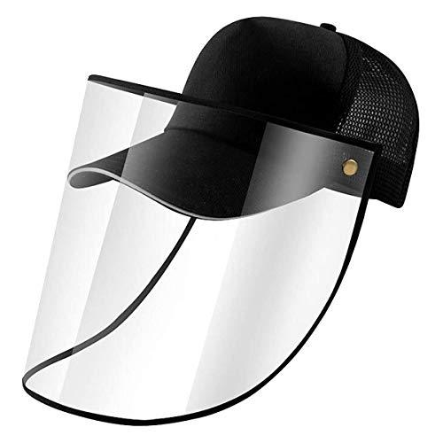 SNOWINSPRING Sombrero con Visera Cubierta una Prueba de Polvo Gorra de BéIsbol Ajustable con Careta Transparente