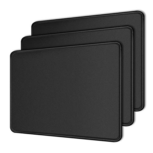 Ocadux 3 Pack Mouse Pad with Sitiched Edge, Non-Slip Rubber Base Mousepads, Washable Mouse Mat for Computer Laptop Mouse, Gaming,Office, Home Use,10.2x8.3x0.12inch, Black