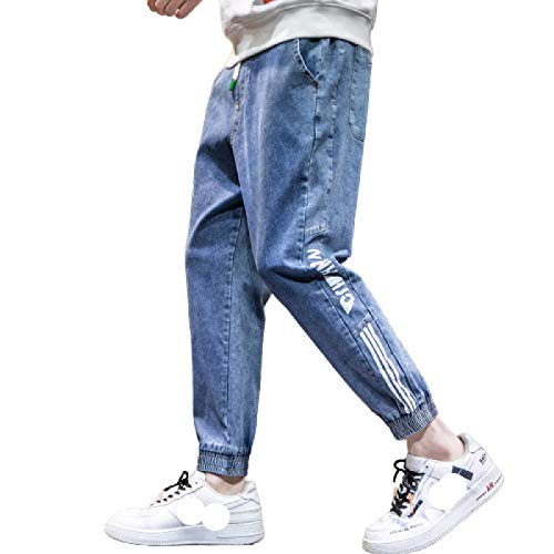 Pantalones Vaqueros para Hombre Moda Casual de Moda Pantalones Vaqueros Estampados con Personalidad Delgada Pantalones de Mezclilla Simples y Bonitos 3XL