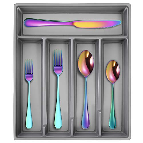 Hiware 20-Piece Rainbow Silverware Flatware Set with Organizer Service for 4, Colorful Stainless Steel Cutlery Utensil Set Includes Forks Knives Spoons, Dishwasher Safe