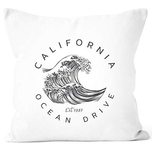 Autiga® Kissenbezug Welle Wave California Ocean Drive Surf Summer Kissen-Hülle Deko-Kissen weiß Unisize