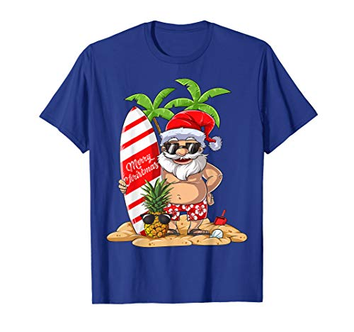 Christmas in July Santa Hawaiian Surfing Gifts Summer Surf T-Shirt