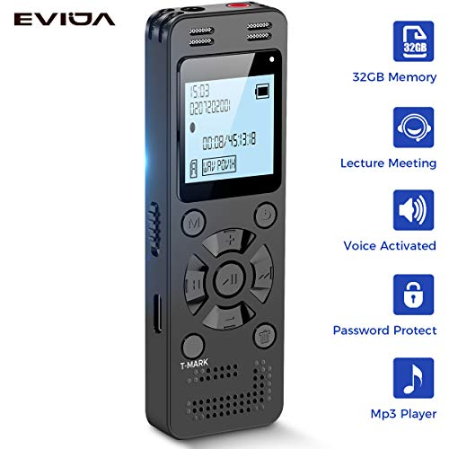 32GB Digital Voice Recorder for Lectures Meetings - EVIDA 2324 Hours Voice Activated Recording Device Audio Recorder with Playback,Password