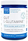 Essential Stacks Gut L-Glutamine Powder – Gluten, Dairy & Soy Free, Vegan, Non-GMO & Hypoallergenic with 3rd Party Verified Allergen Testing - Pure Unflavored L Glutamine for Optimal Gut Health