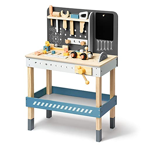 ROBUD Tool Bench Set for Toddlers Wooden Workbench Toy Workshop Construction Tools Bench Creative Pretend Play Toys Education Gift for Kid Boys Girls