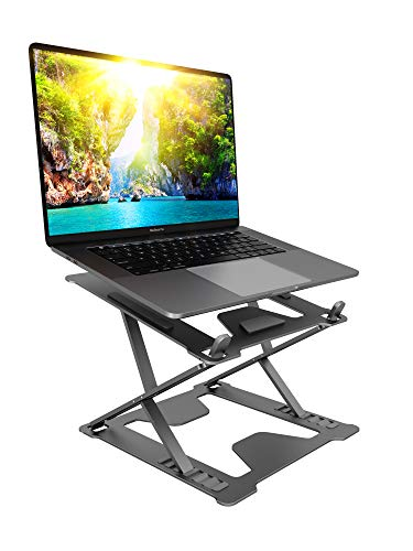 """2021 Laptop Stand – Lightweight & Durable Metal Design - Aluminum Foldable Portable Computer Stand - Ergonomic Laptop Holder - Multi-Angle Notebook Riser – For All Laptops 11-17"""" (Space Grey)"""