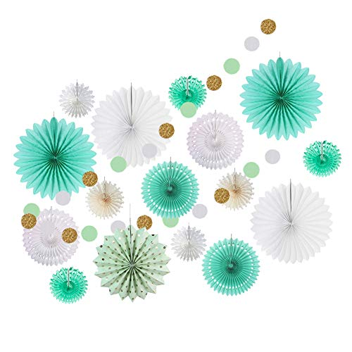 SUNBEAUTY Tissue Paper Fans Decoration Kit Hanging String Garlands for Birthday Boy Baby Shower Backdrop Hanging Decor Mint Green