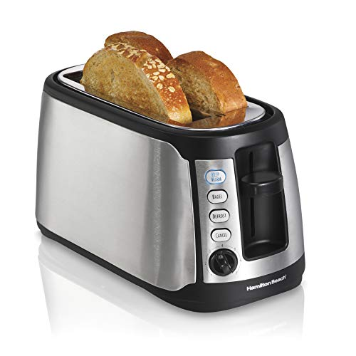 Hamilton Beach 4 Slice Extra Wide Long Slot Stainless Steel Toaster with Keep Warm, Defrost and Bagel Functions, Shade Selector, Toast Boost, Auto-Shutoff and Cancel Button, Black (24810)