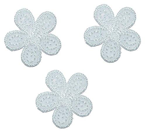 3 TLG. Set: kleine Blüten Creme / weiß - 2,5 cm Bügelbild - Aufnäher Applikation - weiße /...