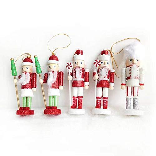 Ruisy 5-delige set notenkraker soldaat decoratie figuur kersthanger met geschenkdoos 12cm