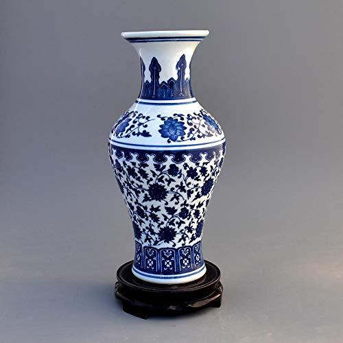 Aardewerk, antiek blauw en wit porseleinen vaas, bloemstuk, woondecoratie, woonkamer, ambachten, mode decoratie-Fles vis