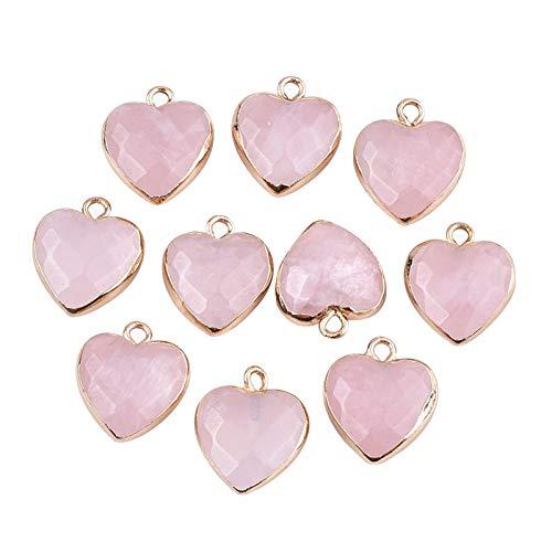 Airssory 10 piezas de electrochapa de cuarzo rosa natural piedra de cristal...