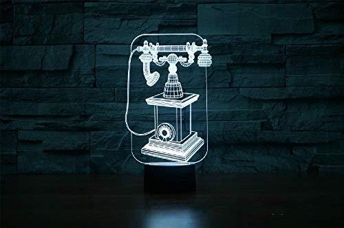 Jellyllyy Vintage teléfono móvil luz nocturna 3D visión creativa 3D deslizamiento acrílico USB LED lámpara de mesa 7 colores disponibles