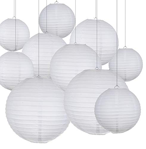 """Pack of 20 Chinese White Hanging Paper Lantern in 4"""" 6"""" 8"""" 10"""" 12"""" Great for Wedding and Party Decorations"""