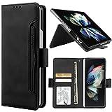 YIRSUR Kompatibel mit Samsung Galaxy Z Fold 3 5G Hülle Premium Leder PU Flip Hülle Wallet Lederhülle Handyhülle Klapphülle Magnetisch Silikon Bumper Schutzhülle (Black)
