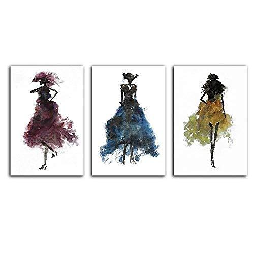 Slagman Fashion Ladies Woman Concept 3 Pezzi Canvas Wall Art Picture Poster E Stampe Picture Modern Home Decor Allungato E Incorniciato Pronto da Appendere14 X 20' X 3Pcs