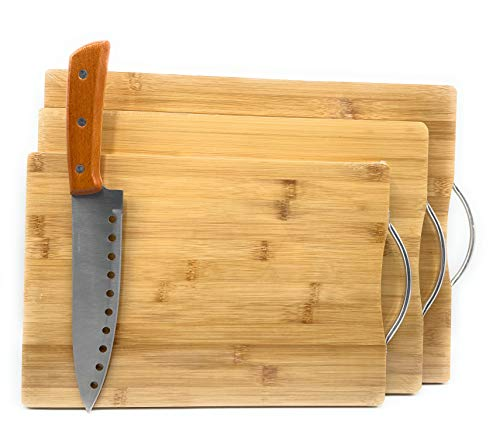KMT 3 Tablas de Cortar de Madera de Bambú Gruesas para Cocina con Asas, Resistentes como Bandeja para Servir + Cuchillo para Carne Congelada