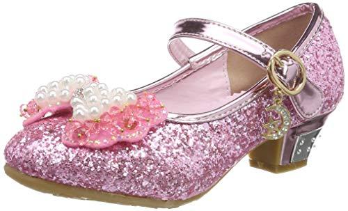 Tyidalin Niña Bailarina Zapatos de Tacón Disfraz de Princesa niña Princesa del Otoño de Las Lentejuelas de Prinavera para 3 a 12 Años Rosa 25