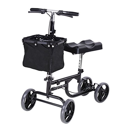 AW Adjustable Knee Scooter Walker w/Basket Steerable Rolling Wheel Weight Capacity 295 lbs