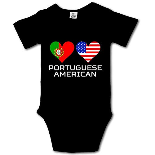 Portugal American Hearts Flags Infant Baby Short Sleeve Bodysuit Romper