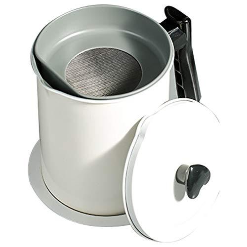 QAX Dispensador de grasa para tocino de acero inoxidable con colador de malla fina y mango de baquelita, juego 4 en 1 para cocina, 1700 ml, color blanco
