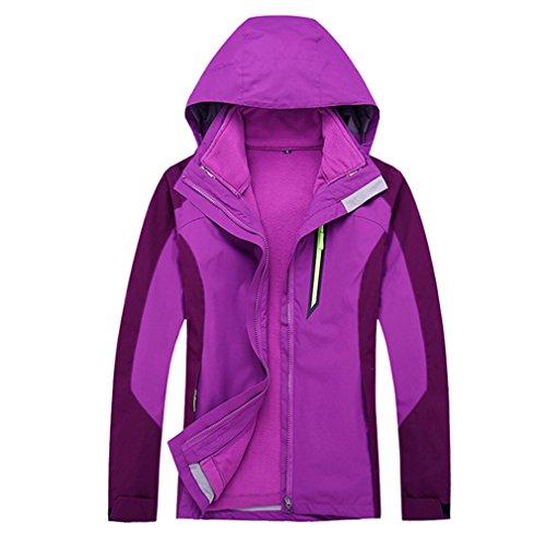 CIKRILAN Femme 3 en 1 Coupe Vent Capuche Imperméable Respirant Manteau Outdoor Sport Veste avec Chaud Veste Polaire (XXX-Large, Violet)