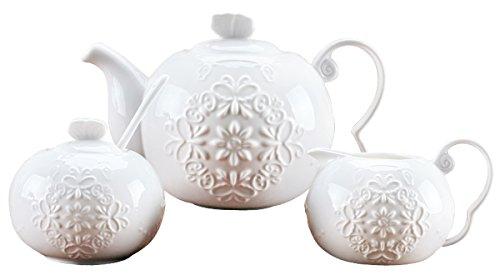 Jusalpha White fine china butterfly enbossed 3 piece teapot and creamer set (Teapot creamer set)