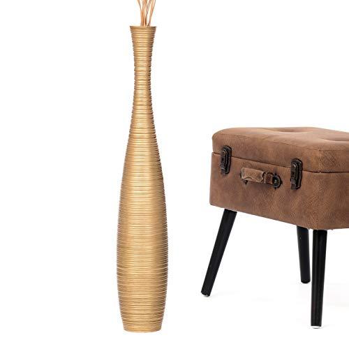 Leewadee Grande Vaso da Terra: Vaso Alto, Elemento Decorativo Fatto a Mano in Legno Esotico, Vaso per per Rami Decorativi, 75 cm, Oro