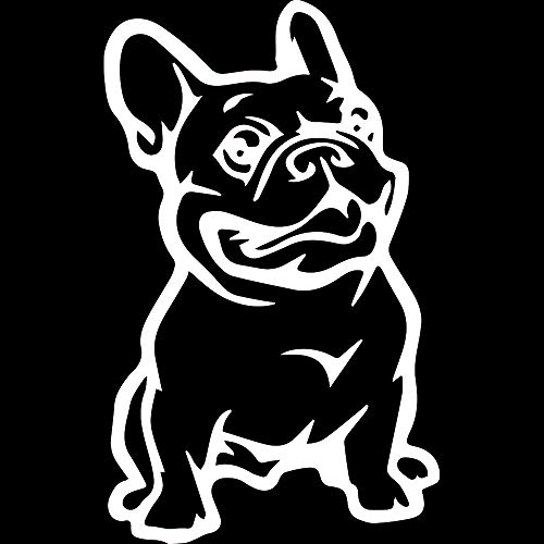 NBFU DECALS Funny Animals French Bulldog (White) (Set of 2) Premium Waterproof Vinyl Decal Stickers for Laptop Phone Accessory Helmet Car Window Bumper Mug Tuber Cup Door Wall Decoration
