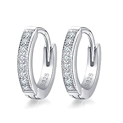 """Guaranteed no-allergic cubic zirconia 925 sterling silver earrings. Earrings Diameter:1.3cm(0.5"""").Thickness:2.4mm,Weight:2g. AAA cubic zirconia is sparkle like diamonds and durable. Wrapped in a special and delicate jewellery box, ideal gift choice. ..."""