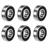 6203 Ball Bearings,Mokell 6pcs Roller Bearing Steel and Double Rubber Sealed Miniature Deep Groove Ball Bearings for Skateboards, Inline Skates, Scooters (17mmx40mmx12mm)